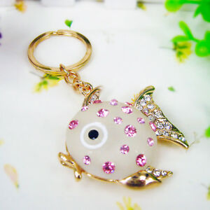 Gold Frosted Glass Fish Sea Pink Clear Crystal CZ Keyring Chain Handbag Charm
