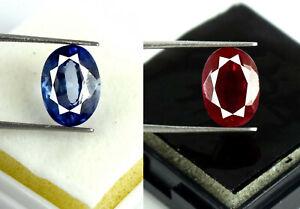 13 X 9 MM Ovale Bleu Saphir & Rubis Gemme Paire Naturel 11-13 CT AGI Certifié