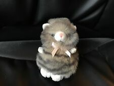 """BEAUTIFUL FLUFFY IFAW GREY AND WHITE 5"""" TABBY CAT SOFT TOY PLUSH CUDDLY CUTE VGC"""