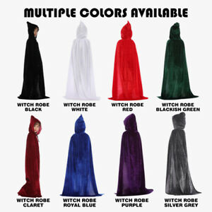 FITS Kid Adult Hooded Velvet Cape Cloak Halloween Medieval Witch Robe Costume