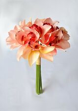 Silk Coral coloured Cymbidium Orchid bouquet - UK sourced