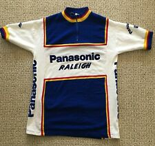 TRUE vintage PANASONIC raleigh ACRYLIC team CYCLING JERSEY size SMALL