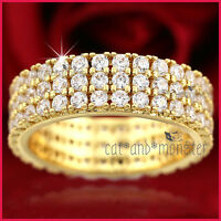 9K YELLOW GOLD GF WOMEN GIRLS SOLID 6MM WEDDING DRESS COCKTAIL CRYSTAL BAND RING
