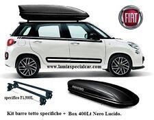 Kit 2 Barre Tetto + BOX BAULE PORTATUTTO 400 LT. Nero specifico per FIAT 500 L.