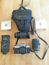 Minolta Xd-5 Film Camera With Two Variable Lenses, Flash, Case, Filter