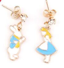 ALICE in WONDERLAND STUD CHARM EARRINGS - Gold Plated Droppers - White Rabbit