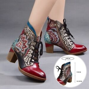 Retro Cowgirl Flower Ankle Boots Womens Genuine Leather High Heel Lace Up Shoes