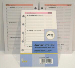 2022 Bind B-5702 Timer Einlage Mini, ca A7 1 Wo. = 2 Seiten Ersatz- Kalender