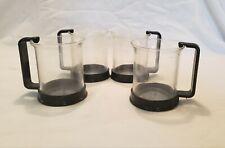4 Vintage 1980s Bodum Bistro Espresso Glass Cups Mugs Black Handles Switzerland