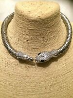 STATEMENT Long Large Big Crystal Diamante Chunky Silver SNAKE Choker Necklace uk