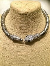 STATEMENT Long Large Big Crystal Diamante Chunky Silver SNAKE Choker Necklace uk