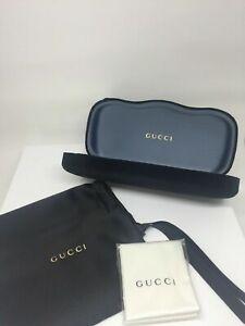 New LARGE Black Gucci Case Hard Shell Sunglasses & Eyeglasses Black Velvet Case