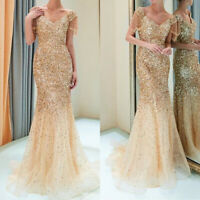 Womens V-Neck Bodycon Slim Cocktail Party Wedding Ballgown Bridesmaid Long Dress