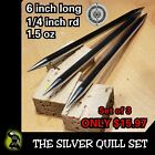 """(3) """"THE SILVER QUILL"""" POLISHED STEEL DOUBLE SPEAR TIP THROWING SPIKE DART SET"""