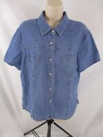 Denim & Co. Womens Shirt Fits Sz M/L Blue Denim Snap Short Sleeve Blouse CB34L