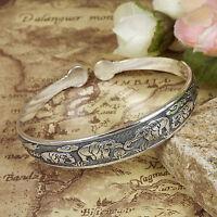 Vintage Tibetan Silver Cuff bangles Carved elephant Bohemian women Bracelets 1pc