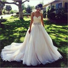 2017 New Diamante A-Line Sweetheart Wedding Dress Bridal Gown size 2-18++