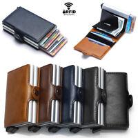 Mini Credit Card Case RFID Money Clip 12 Card Holder Purse Wallet Black Color