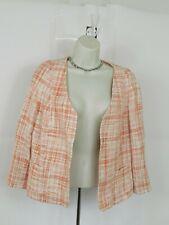 Talbots Womens Size 12P Pink White Open Front Blazer Jacket