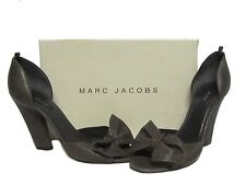 MARC JACOBS Dark Gray Lamb Leather Bow Open Toe Heel Pumps Shoes 40.5 10 $598