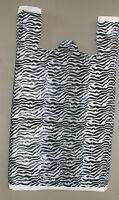 100 Zebra Print Design Plastic T-Shirt Retail Shopping Bags w/ Handles 11.5x6x21