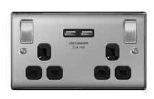 Masterplug NBS22UB Brushed Steel Twin Socket With USB Charger Ports - Black Inse