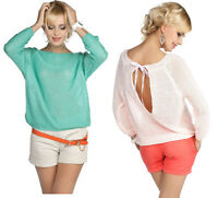Romantic Knit Open Back Bow Jumpers Sweater Top One Size
