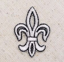 Small - Silver/Black Fleur De Lis Saints Iron on Applique/Embroidered Patch
