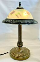 "17.5"" Tall 2 Light Metal Table Lamp With Reverse Painted Frosted Shade"