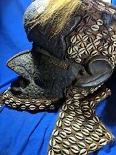 Incredible Kuba Helmet Mask — Amazing Craftsmanship  — Authentic Carved Wood Art