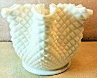 "Pinched Milk Glass Vintage Bowl Diamond Cut Design 7.5"" Dia 5.5"" Tall White"