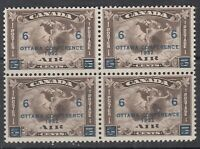 """Canada MINT OG BLOCK Scott #C4 6 cent on 5 cent olive brown """"Air Mail""""  F"""