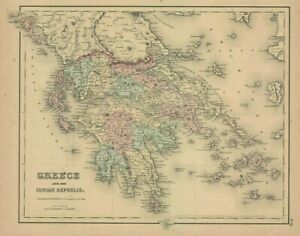 """1857 Colton's  """"Greece and the Ionian Republic"""