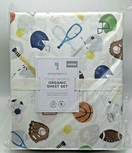 Pottery Barn Tyler Sports Organic Queen Sheet Set Football Baseball Basketball