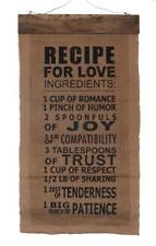 "Recipe for Love Vintage Nostalgic Home Decor Burlap Wall Hanging 28"" x 15"""