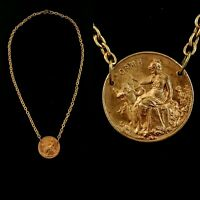 Vintage 1920s Goddess & Cupid Necklace Rare Made in France Die Struck Raw Brass