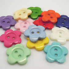 Kid's 100pcs Original 14 mm Pretty Flower Shape Resin Sewing Buttons Fine Craft