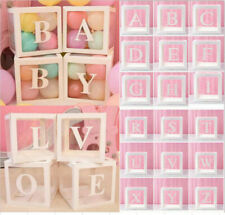A-Z Baby Shower Decor Gift Boxes Transparent Balloons Packing DIY Letter Cube