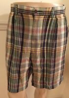 Men's Polo Ralph Lauren Casual Or Dress Tyler Shorts Plaid 36 X9 Pleated Cotton