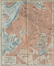 BROOKLYN antique town city plan. New York City. BAEDEKER 1909 old map