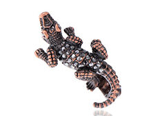 Two Fingers Crocodile Lizard Brass Tone ChicCute Knuckle Sized Ring