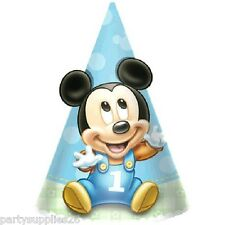 MICKEY MOUSE 1ST BIRTHDAY PARTY SUPPLIES PARTY PAPER CONE HATS PACK OF 8