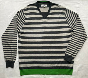 BODEN Men's Grey Striped Jumper Pullover XL Cotton Wool Blend V-neck Long Sleeve