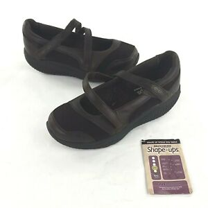 SKETCHERS Shape Ups Physical Toning Brown Leather Mary Janes Size 6.5