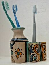 TRADITIONAL HAND PAINTED CERAMIC TOOTH BRUSH HOLDER  FES POTTERY
