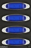 4 x 12 LED Azul 12V Lado Borde Cromado Marcador Luces Coche SUV Van Bus Remolque