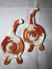 Set of 2 Crochet Cotton Cat Butt Coasters Orange White Tabby Gift For Cat Lover