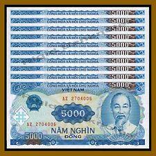 10 Pcs x Vietnam (Vietnamese) 5000 Dong, 1991 (1993) P-108 Unc