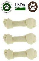"Dog Rawhide Bones Pack of 3. Large 8""-10"" Knotted Bones. No Additives, Chemicals"
