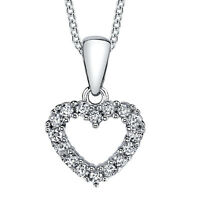 925 Sterling Silver CZ Open Heart Love Pendant Necklace with Cubic Zirconias